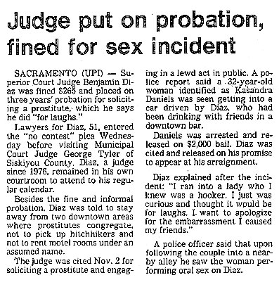 Judge Put on Probation, fined for sex incident (with prostitute)